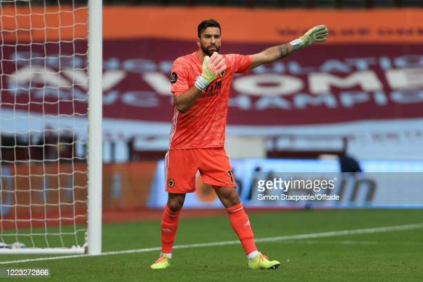 Wolves goalkeeper Rui Patricio gestures during the Premier League match between Aston Villa and Wolverhampton Wanderers at Villa Park on June 27,...