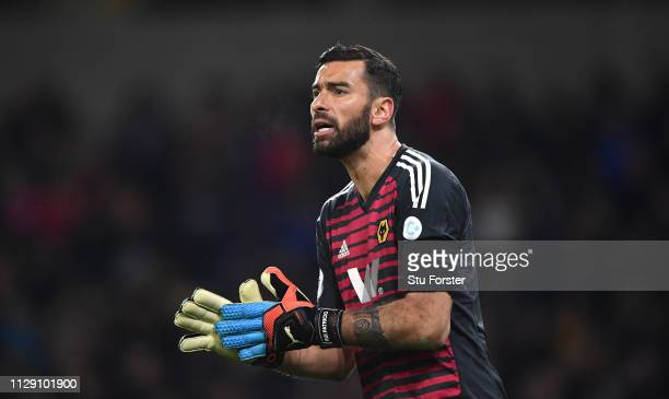 Wolves goalkeeper Rui Patricio reacts during the Premier League match between Wolverhampton Wanderers and Newcastle United at Molineux on February 11...