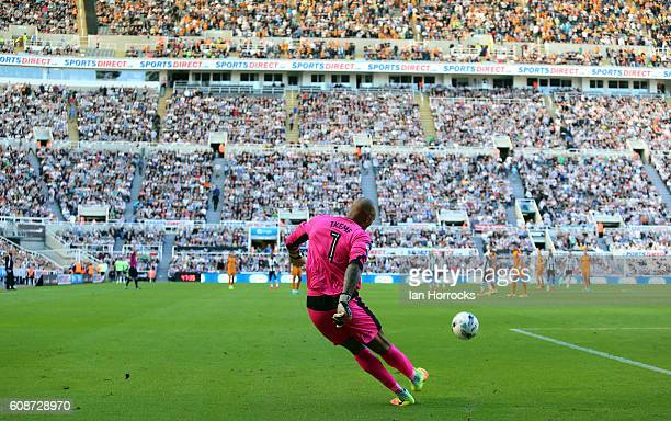 Wolves keeper Carl Ikeme clears the ball during the Sky Bet Championship match between Newcastle United and Wolverhampton Wanders at St James' Park...