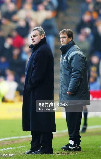 Wolves Manager David Jones watches the game with Assistant Manager Stuart Gray during the FA Barclaycard Premiership match between Wolverhampton...