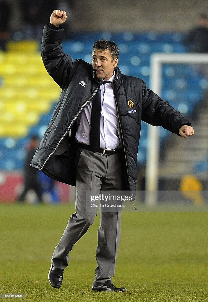 Wolves manager Dean Saunders celebrates his team's win at the end of the match during the npower Championship match between Millwall and Wolverhampton Wanderers at The Den on March 05, 2013 in London, England,