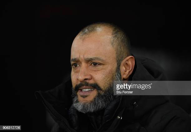 Wolves manager Espirito Santo looks on during the Emirates FA Cup third round replay between Swansea City and Wolverhampton Wanderers at Liberty...