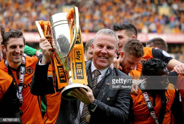 Wolves manager Kenny Jackett lifts the Sky Bet League One trophy during the Sky Bet League One match between Wolverhampton Wanderers and Carlisle...