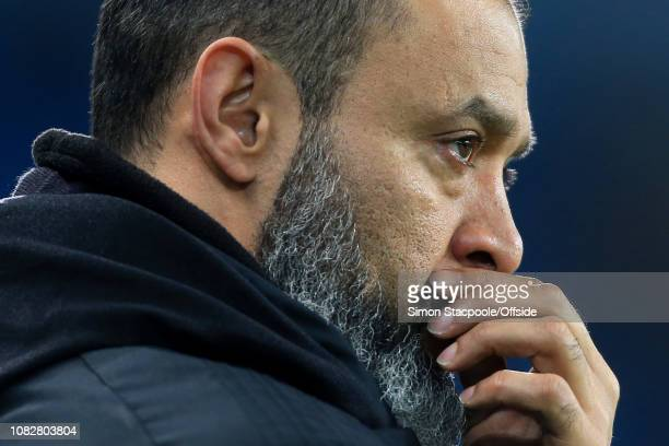 Wolves manager Nuno Espirito Santo looks dejected during the Premier League match between Manchester City and Wolverhampton Wanderers at the Etihad...