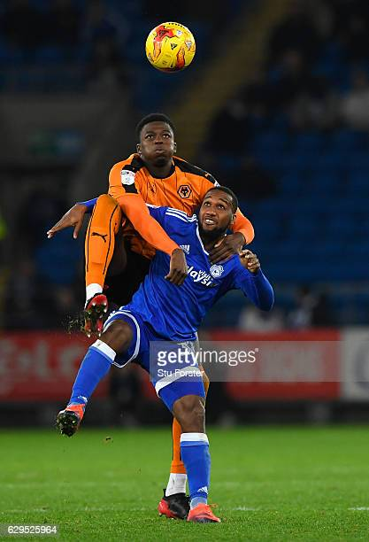 Wolves player Dominic Iorfa challenges Junior Hoilett of Cardiff during the Sky Bet Championship match between Cardiff City and Wolverhampton...