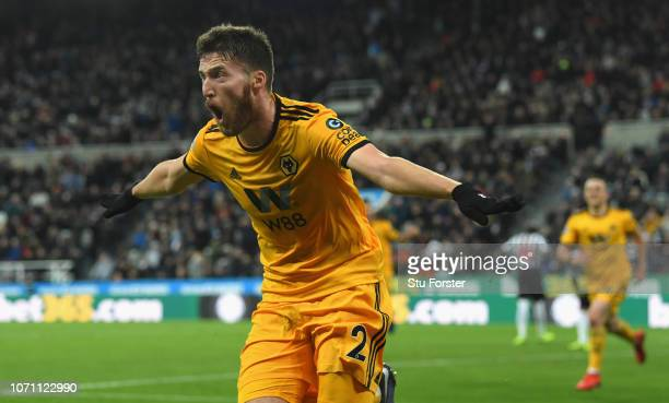 Wolves player Matt Doherty celebrates the winning goal during the Premier League match between Newcastle United and Wolverhampton Wanderers at St...