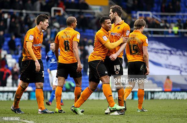 Wolves players celebrate after the final whistle during the npower Championship match between Birmingham City and Wolverhampton Wanderers at St...