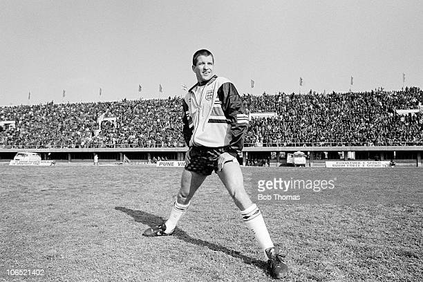 Wolves striker Steve Bull warming up prior to making his International debut for the England Under21 team in a match against Abania held in Shkodra...