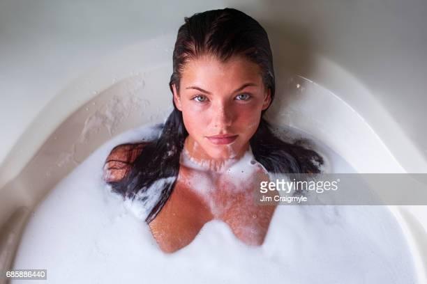 Woman 20's taking a bath