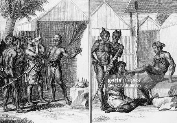 Woman accused of adultery drinking a potion administered by the shaman and swearing her innocence, Guinea, engraving by Bernard Picart from Histoire...