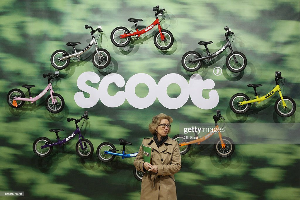 A woman admires a display of children's bikes at the London Bike Show which is being held in the ExCeL Centre on January 17, 2013 in London, England. The ExCeL centre is hosting The Outdoors Show, the London Bike Show and the Active Travel Show which run until January 20, 2013 and features manufacturer trade stalls, speeches, demonstrations and areas where visitors can climb or ride bikes.