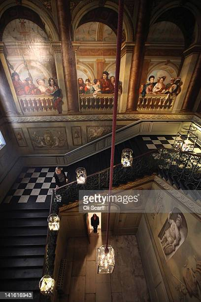 Woman admires the King's Staircase in Kensington Palace on March 20, 2012 in London, England. Kensington Palace is due to reopen to the public on...