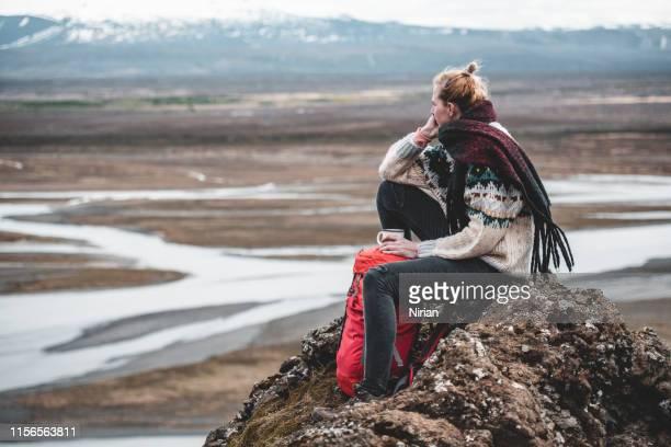 frau bewundert isländische landschaft - polarklima stock-fotos und bilder