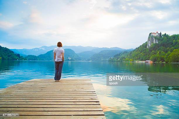 Woman admiring lake
