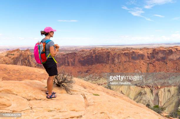 woman admiring the canyons and crater from the upheaval dome in canyonlands national park - canyonlands national park stock pictures, royalty-free photos & images