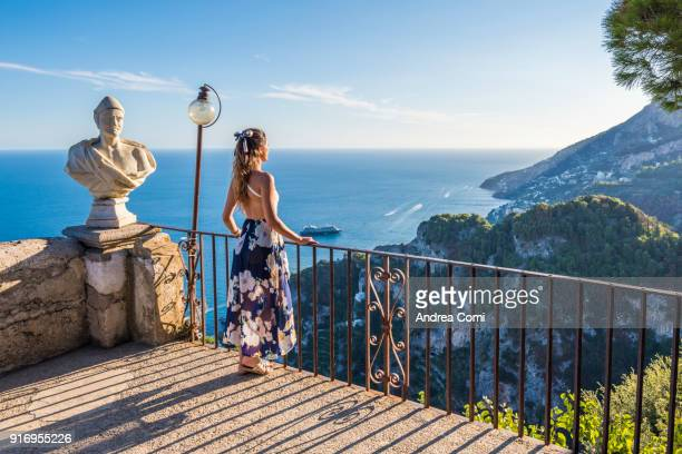 Woman admiring the view from Terrace of Infinity. Villa Cimbrone, Ravello, Amalfi Coast, Salerno, Campania, Italy
