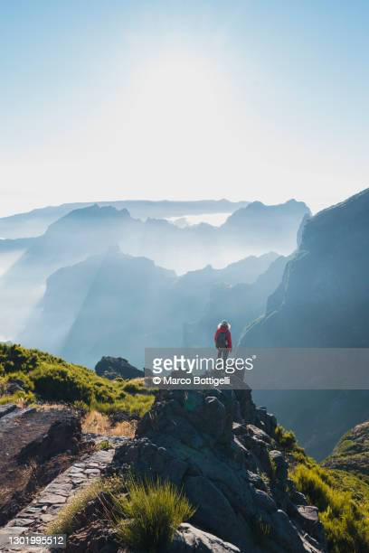 woman admiring the view from the top of a mountain in madeira - beauty in nature stock pictures, royalty-free photos & images