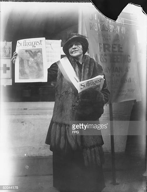 A woman advertises The Suffragist magazine mid 1910s Suffragist was started in 1913 by Alice Paul and the Congressional Union for Women Suffrage