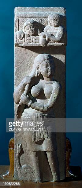 Woman after bathing and swan relief from Naroli Mathura India Indian Civilisation Kushan Empire 2nd3rd century