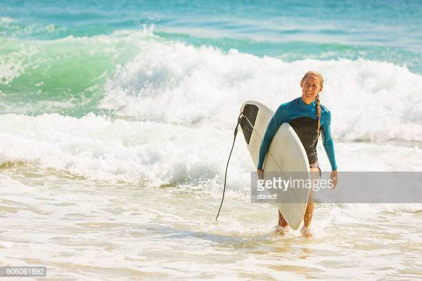 Woman After Having a Surf at the Beach