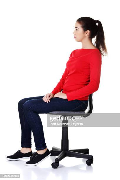 woman against white background - office chair stock pictures, royalty-free photos & images