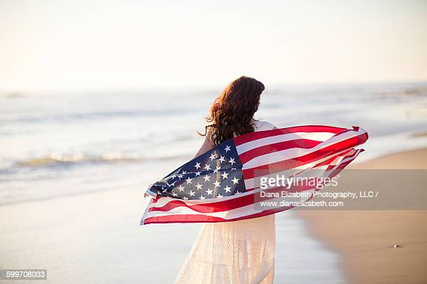Woman American Flag at Beach
