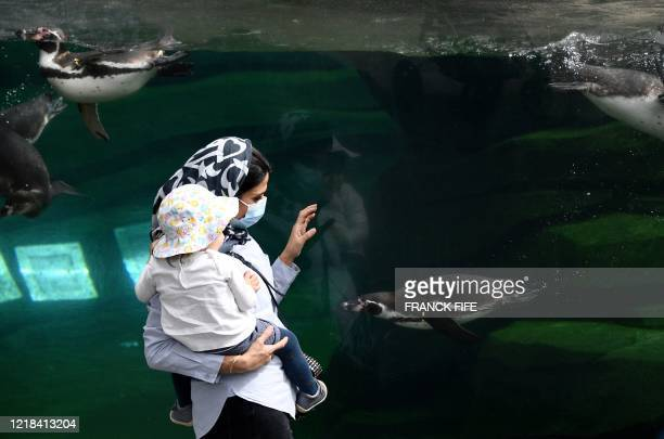 A woman and a child look at humboldt penguins swimming in their pool at the Paris Zoological Park in the Vincennes woods in Paris on June 8 on the...