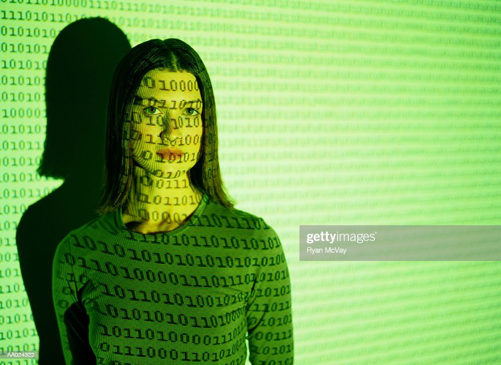 Woman and a Computer Graphics Projection : Stock Photo