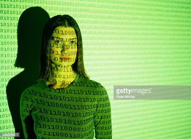 Woman and a Computer Graphics Projection