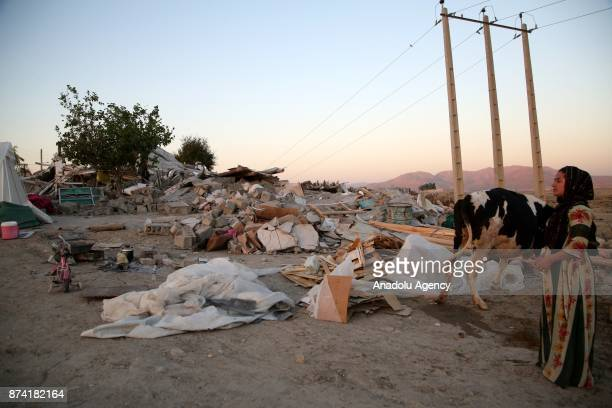 A woman and a cow stand at debris of a building in Kalaleh town of Kermanshah Iran on November 14 2017 following a 73 magnitude earthquake that hit...