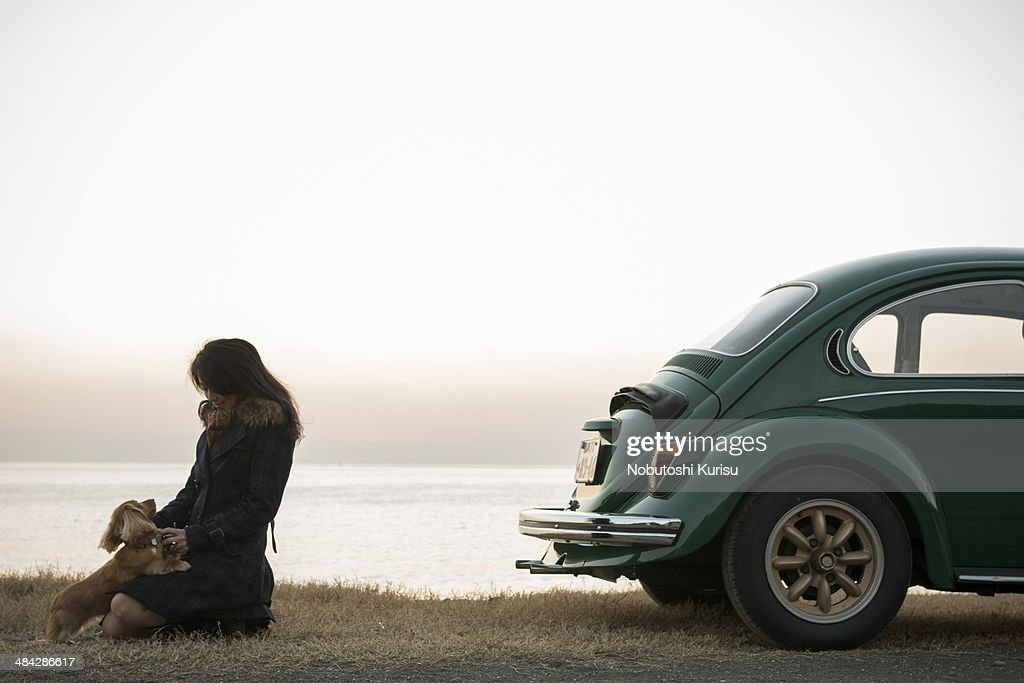 A woman and a dog are standing near the car : Stock Photo