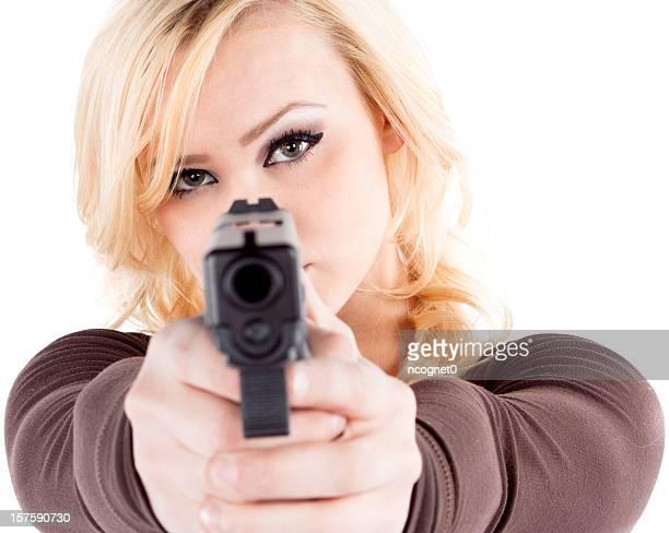 mulher e glock - mulheres com armas imagens e fotografias de stock