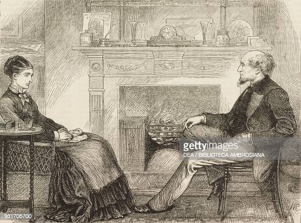A woman and a man in front of the fireplace from the novel Black Spirits and White chapter XXXVII by Frances Eleanor Trollope United Kingdom...