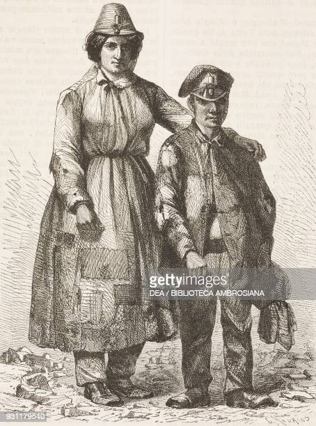 Woman and a young miner, Pontypool, United Kingdom, drawing by Jean-Baptiste Henri Durand-Brager from A visit to the great workshops of Wales by...