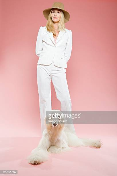 Woman and an afghan hound