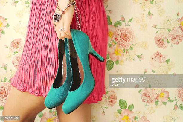 Woman and blue shoes.