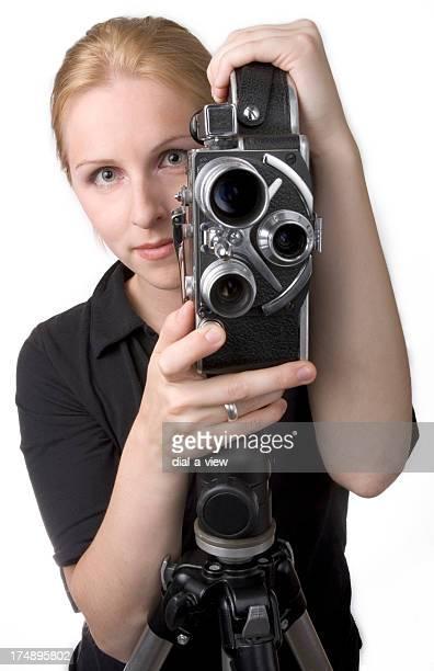 frau mit kamera - filmregisseur stock-fotos und bilder