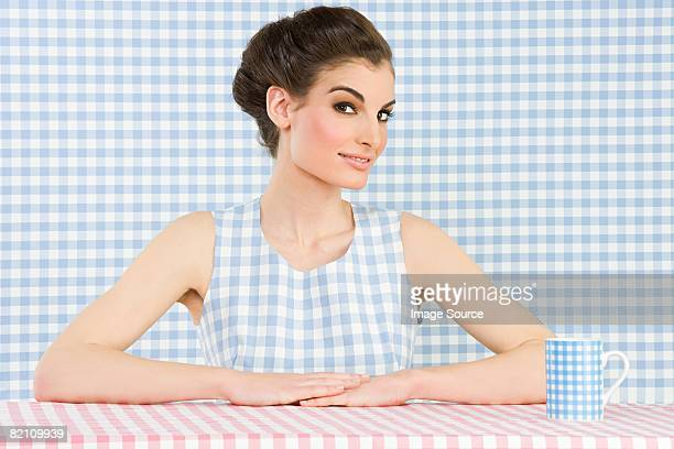 woman and checker pattern - checked dress stock pictures, royalty-free photos & images