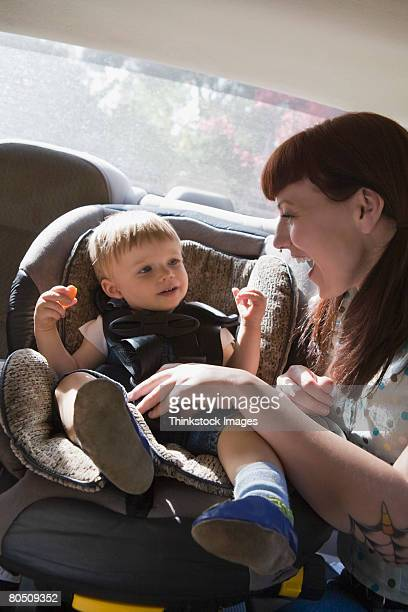 Woman and child in car