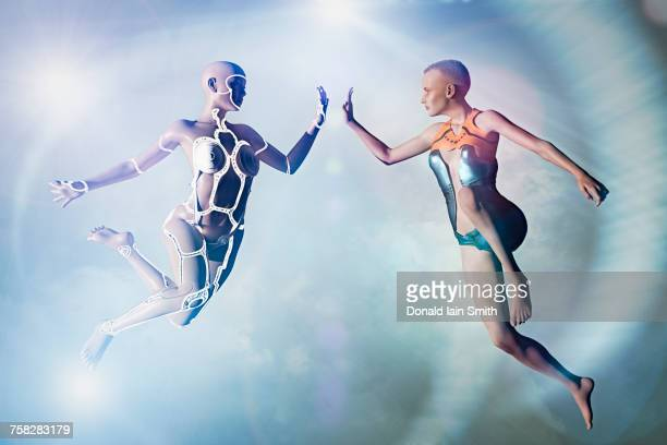 Woman and cyborg high-fiving in cyberspace