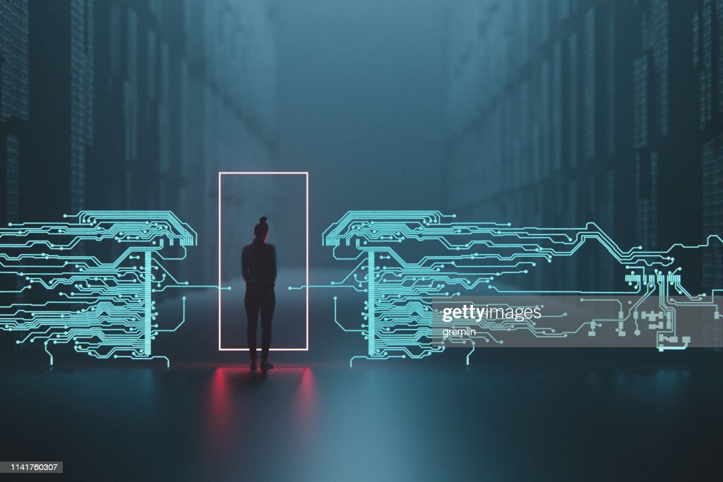 Woman and digital security points : Stock Photo