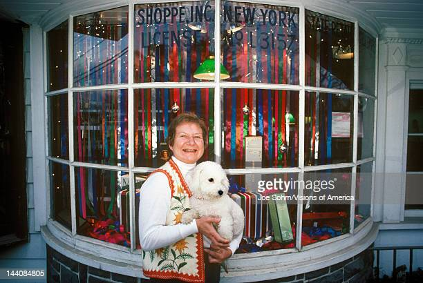 Woman and dog Christmas shopping Woodstock NY