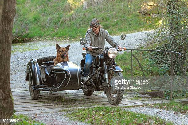 Woman and dog driving a motorbike and sidecar