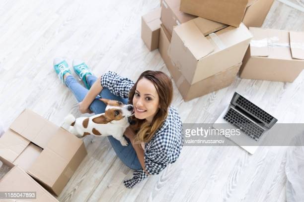 woman and dog flooring in new home - building feature stock pictures, royalty-free photos & images