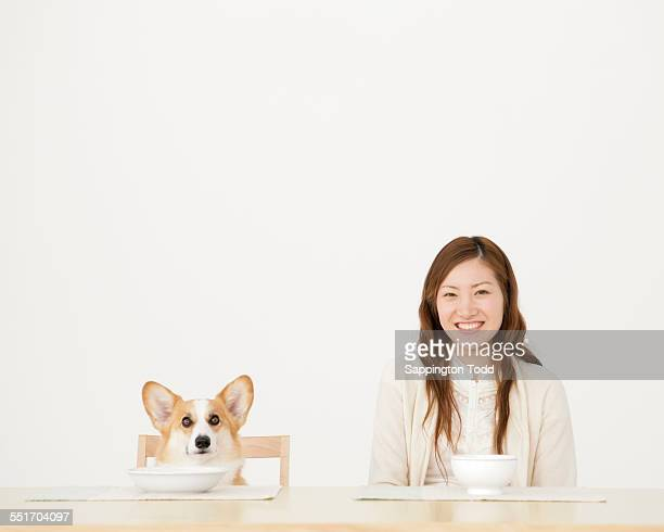 woman and dog having breakfast - one animal stock pictures, royalty-free photos & images