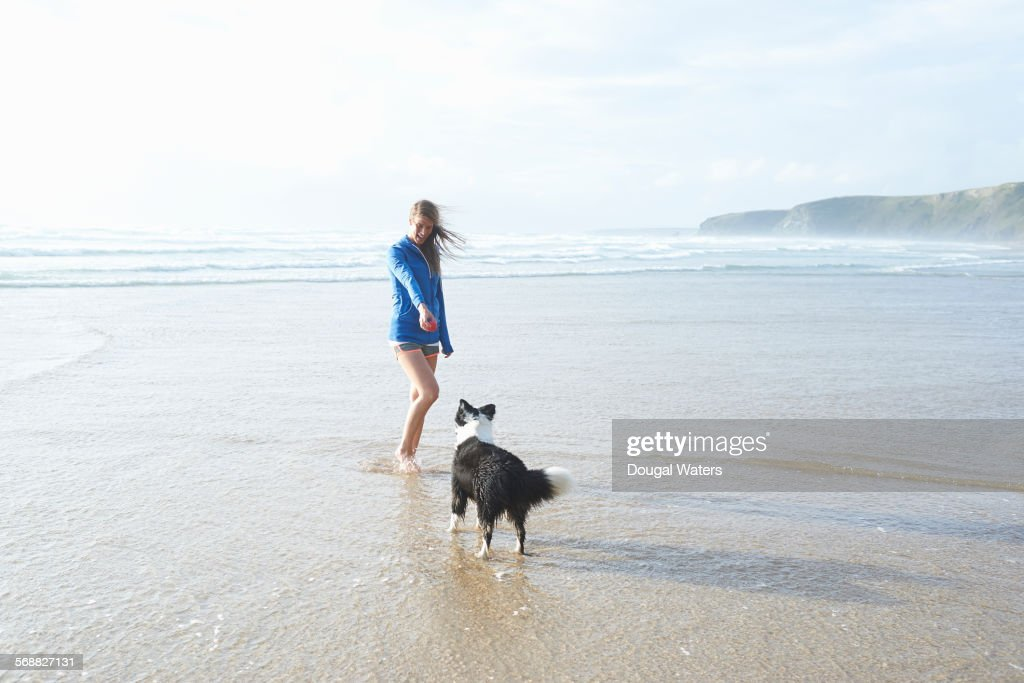 Woman and dog playing at beach. : Stock Photo