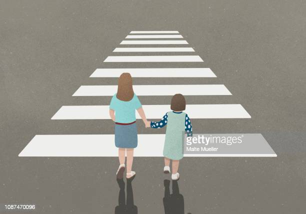woman and girl holding hands whilst walking through zebra crossing - illustration stock pictures, royalty-free photos & images
