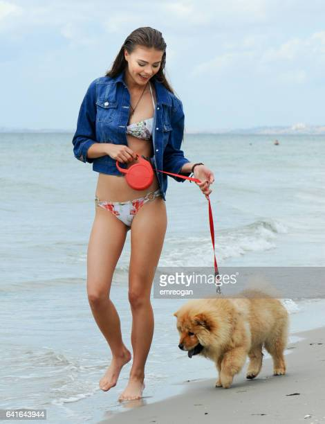 woman and her dog on the beach - chow dog stock pictures, royalty-free photos & images