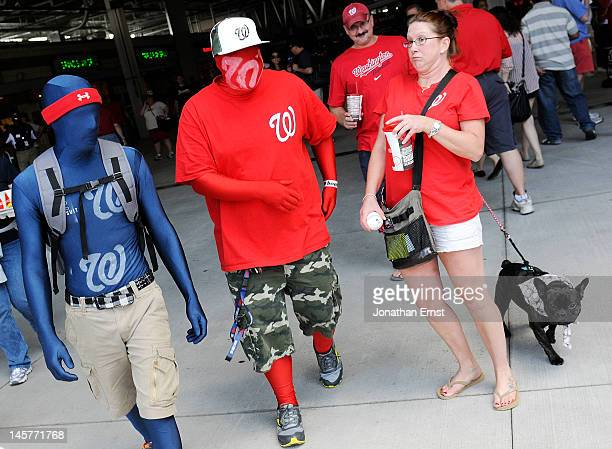 A woman and her dog taking advantage of a takeyourdogtotheballpark promotion react to bodysuited Washington Nationals fans Wade Jacobson and Andrew...