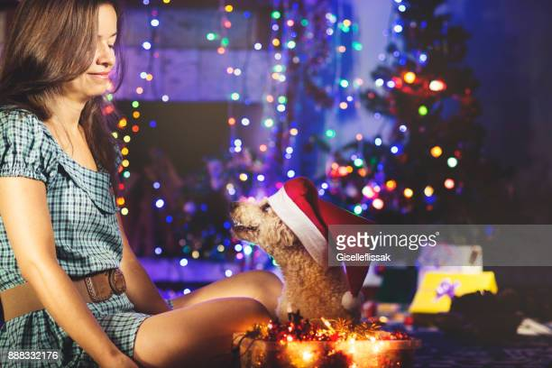 woman and her dog with santa's costume - flasher stock photos and pictures